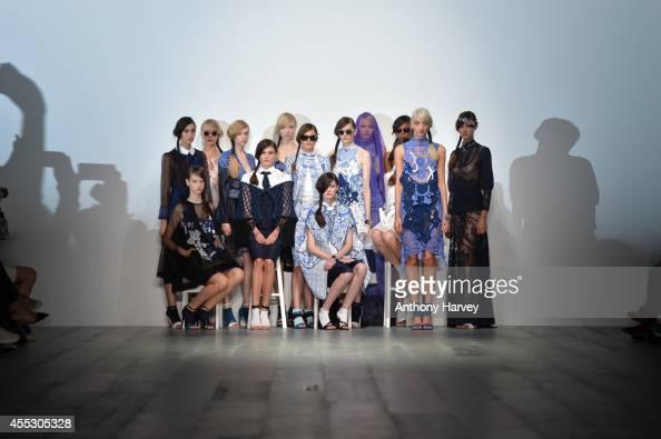 Models walk the runway at the Bora Aksu show during London Fashion Week Spring Summer 2015 at Somerset House on September 12 2014 in London England