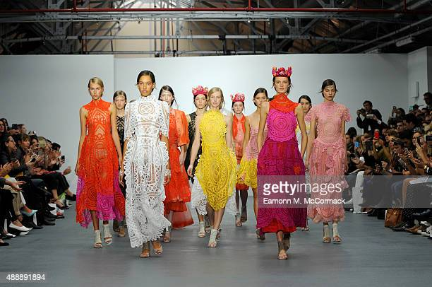 Models walk the runway at the Bora Aksu show during London Fashion Week Spring/Summer 2016 on September 18 2015 in London England