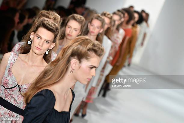 Models walk the runway at the Brock Collection fashion show during New York Fashion Week September 2016 at Milk Studios on September 8 2016 in New...