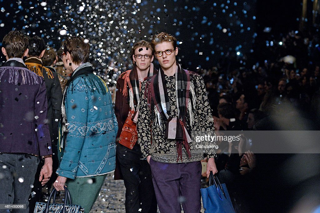 Models walk the runway at the Burberry Prorsum Autumn Winter 2015 fashion show during London Menswear Fashion Week on January 12 2015 in London...