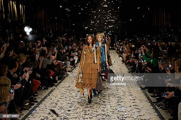 Models walk the runway at the Burberry Prorsum Autumn Winter 2015 fashion show during London Fashion Week on February 23 2015 in London United Kingdom