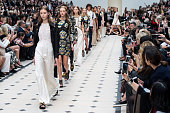 Models walk the runway at the Burberry Prorsum show during London Fashion Week Spring/Summer 2016/17 on September 21 2015 in London England