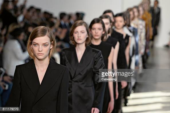 Models walk the runway at the Calvin Klein Autumn Winter 2016 fashion show during New York Fashion Week on February 18 2016 in New York United States