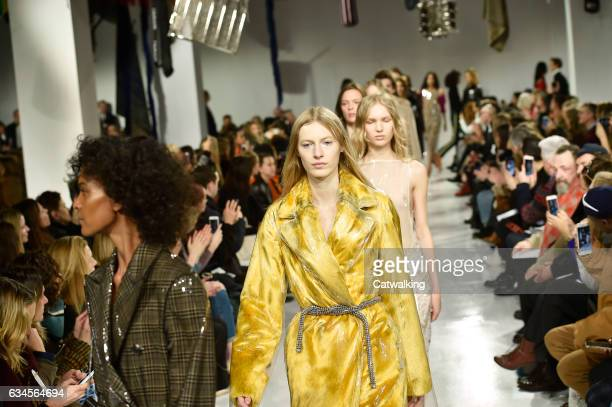 Models walk the runway at the Calvin Klein Collection Autumn Winter 2017 fashion show during New York Fashion Week on February 10 2017 in New York...