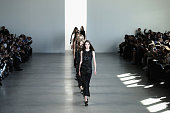 Models walk the runway at the Calvin Klein Collection fashion show during MercedesBenz Fashion Week Fall 2015 at Spring Studios on February 19 2015...
