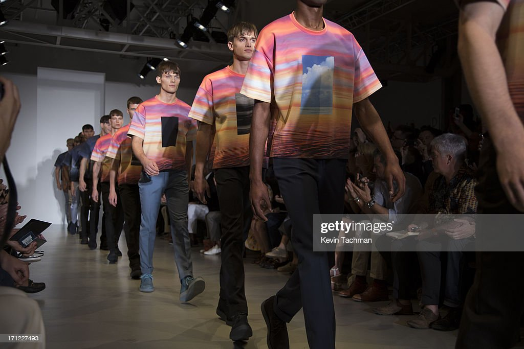 Models walk the runway at the Calvin Klein Spring Summer 2014 fashion show during Milan Menswear Fashion Week on June 23, 2013 in Milan, Italy.