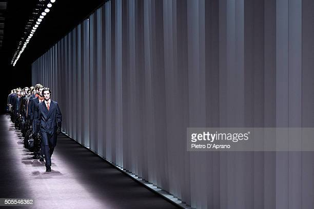 Models walk the runway at the Canali show during Milan Men's Fashion Week Fall/Winter 2016/17 on January 18 2016 in Milan Italy