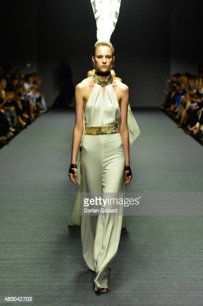 Models walk the runway at the Carla Zampatti show during MercedesBenz Fashion Week Australia 2014 at Carriageworks on April 6 2014 in Sydney Australia
