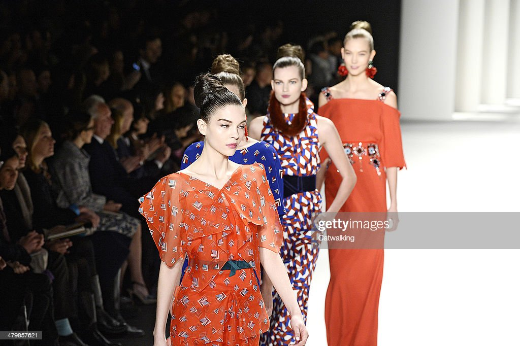 Models walk the runway at the Carolina Herrera Autumn Winter 2014 fashion show during New York Fashion Week on February 10 2014 in New York United...