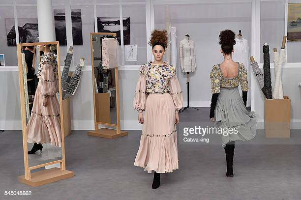 Models walk the runway at the Chanel Autumn Winter 2016 fashion show during Paris Haute Couture Fashion Week on July 5 2016 in Paris France