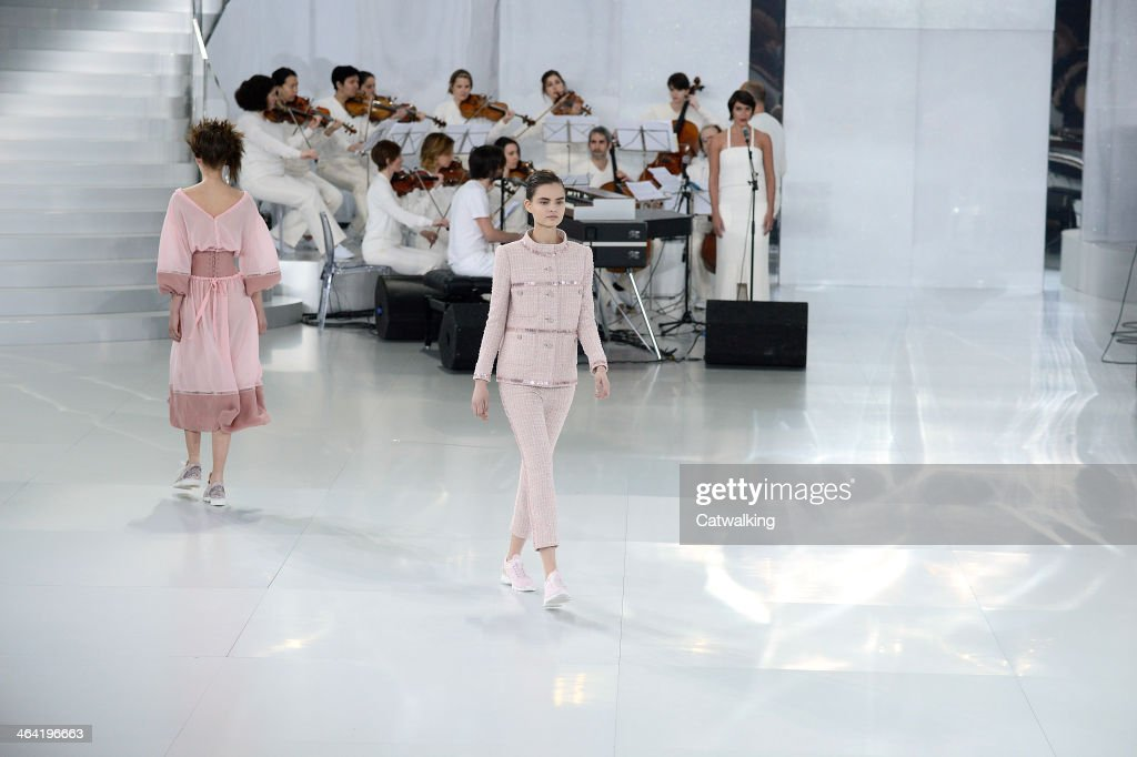 Models walk the runway at the Chanel Spring Summer 2014 fashion show during Paris Haute Couture Fashion Week on January 21, 2014 in Paris, France.