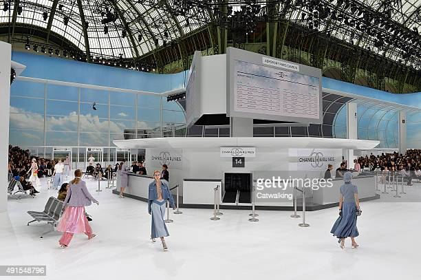 Models walk the runway at the Chanel Spring Summer 2016 fashion show during Paris Fashion Week on October 6 2015 in Paris France
