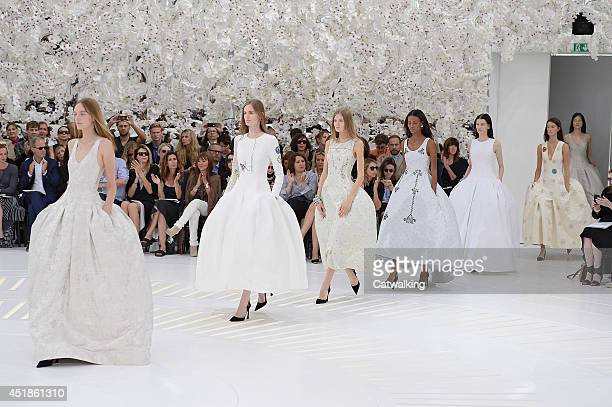 Models walk the runway at the Christian Dior Autumn Winter 2014 fashion show during Paris Haute Couture Fashion Week on July 7 2014 in Paris France