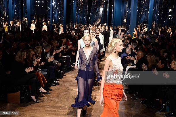 Models walk the runway at the Christian Dior Spring Summer 2016 fashion show during Paris Haute Couture Fashion Week on January 25 2016 in Paris...