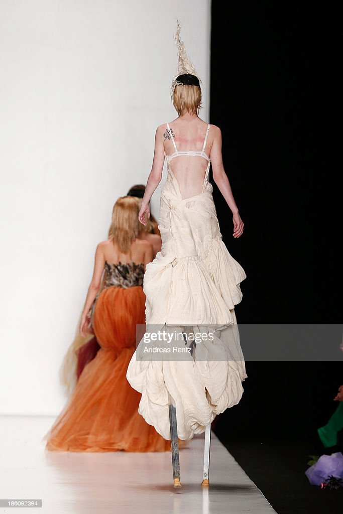 Models walk the runway at the Contrfashion show during Mercedes-Benz Fashion Week Russia S/S 2014 on October 28, 2013 in Moscow, Russia.