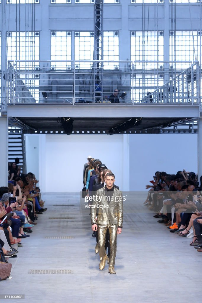 Models walk the runway at the Costume National Homme show during Milan Menswear Fashion Week Spring Summer 2014 on June 22, 2013 in Milan, Italy.
