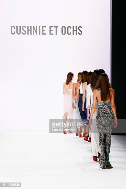 Models walk the runway at the Cushnie Et Ochs show during the MercedesBenz Fashion Week Berlin Spring/Summer 2017 at Erika Hess Eisstadion on July 1...