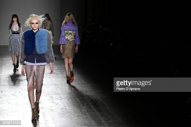 Models walk the runway at the Daizy Shely show during Milan Fashion Week Fall/Winter 2017/18 on February 27 2017 in Milan Italy