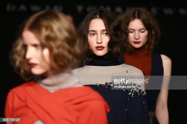 Models walk the runway at the Dawid Tomaszewski fashion show intervention A/W 2016/17 as part of Der Berliner Mode Salon during the MercedesBenz...
