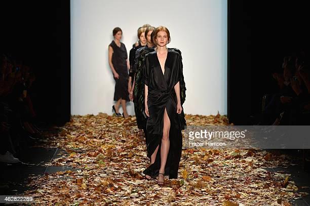 Models walk the runway at the Dawid Tomaszewski show during MercedesBenz Fashion Week Autumn/Winter 2014/15 at Brandenburg Gate on January 15 2014 in...