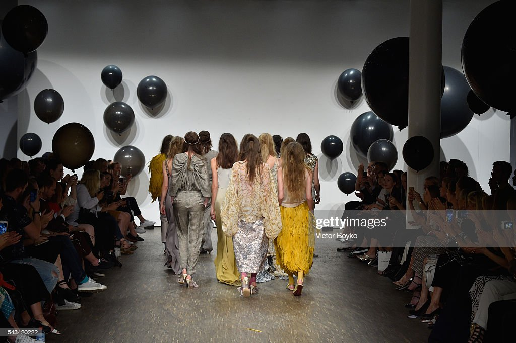 Models walk the runway at the Dawid Tomaszewski show during the Mercedes-Benz Fashion Week Berlin Spring/Summer 2017 at Stage at me Collectors Room on June 28, 2016 in Berlin, Germany.