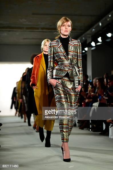 Models walk the runway at the Dawid Tomaszewski X Patrizia Aryton show during the MercedesBenz Fashion Week Berlin A/W 2017 at Kaufhaus Jandorf on...
