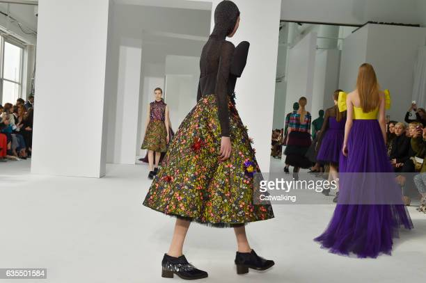 Models walk the runway at the Delpozo Autumn Winter 2017 fashion show during New York Fashion Week on February 15 2017 in New York United States