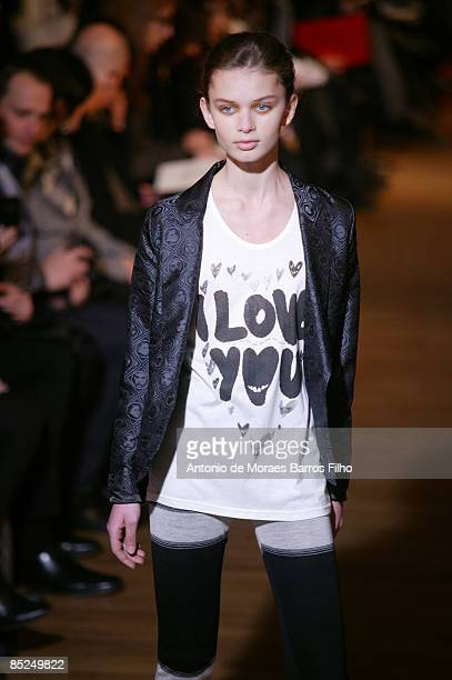 Models walk the runway at the Devastee ReadytoWear A/W 2009 fashion show during Paris Fashion Week at Salon des Miroirs on March 4 2009 in Paris...