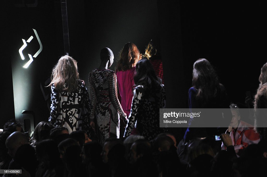 Models walk the runway at the Diane Von Furstenberg Fall 2013 fashion show during Mercedes-Benz Fashion at The Theatre at Lincoln Center on February 10, 2013 in New York City.
