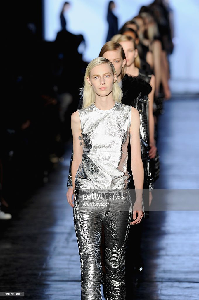 Models walk the runway at the Diesel Black Gold fashion show during Mercedes-Benz Fashion Week Fall 2014 at Skylight at Moynihan Station on February 11, 2014 in New York City.