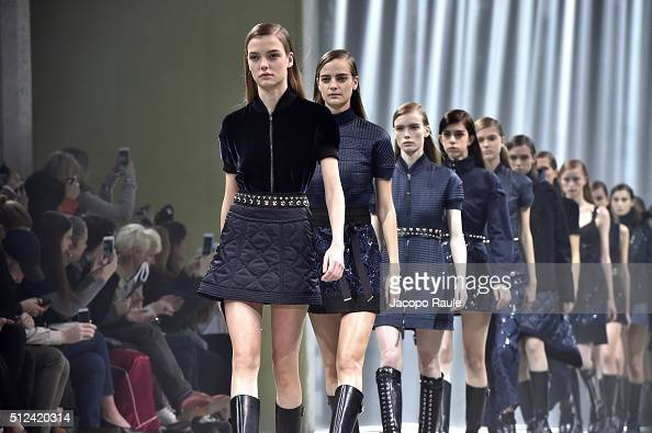 Models walk the runway at the Diesel Black Gold show during Milan Fashion Week Fall/Winter 2016/17 on February 26 2016 in Milan Italy