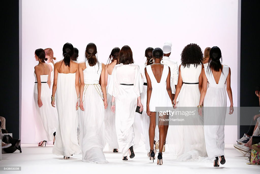 Models walk the runway at the Dimitri show during the Mercedes-Benz Fashion Week Berlin Spring/Summer 2017 at Erika Hess Eisstadion on June 30, 2016 in Berlin, Germany.