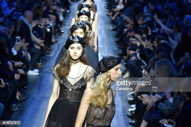 Models walk the runway at the Dior Autumn Winter 2017 fashion show during Paris Fashion Week on March 3 2017 in Paris France