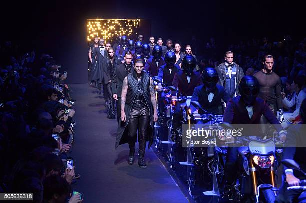 Models walk the runway at the Dirk Bikkembergs show during Milan Men's Fashion Week Fall/Winter 2016/17 on January 19 2016 in Milan Italy