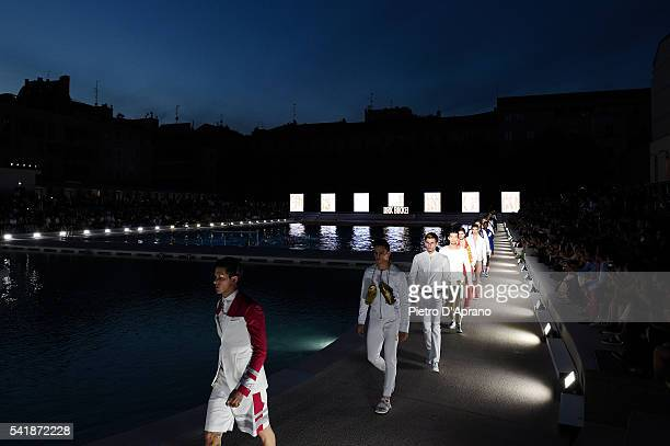 Models walk the runway at the Dirk Bikkembergs show during Milan Men's Fashion Week Spring/Summer 2017 on June 20 2016 in Milan Italy