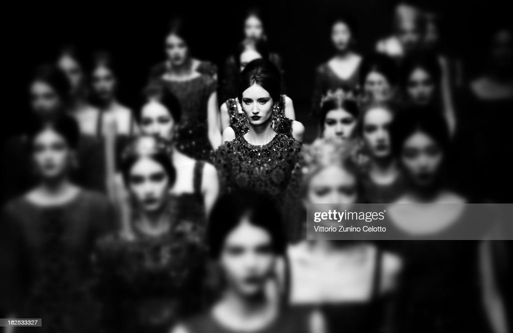Models walk the runway at the Dolce e Gabbana fashion show as part of Milan Fashion Week Womenswear Fall/Winter 2013/14 on February 24, 2013 in Milan, Italy.