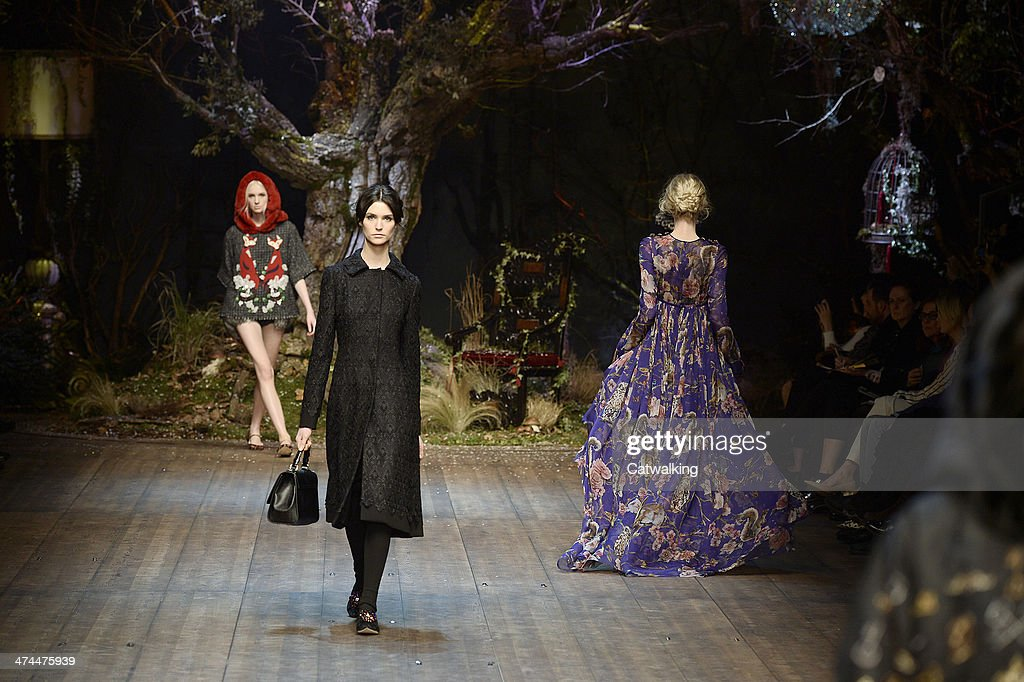 Models walk the runway at the Dolce & Gabbana Autumn Winter 2014 fashion show during Milan Fashion Week on February 23, 2014 in Milan, Italy.