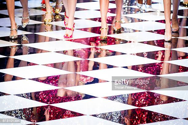 Models walk the runway at the Dolce Gabbana fashion show during Milan Fashion Week Fall/Winter 2016/17 on February 28 2016 in Milan Italy