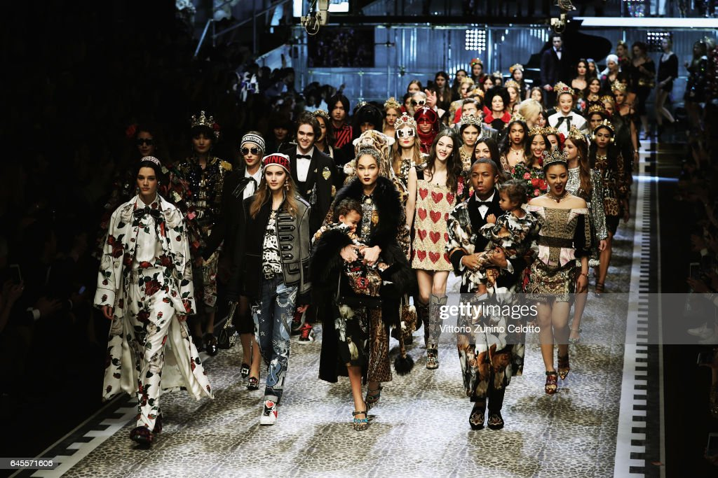 Models walk the runway at the Dolce & Gabbana show during Milan Fashion Week Fall/Winter 2017/18 on February 26, 2017 in Milan, Italy.