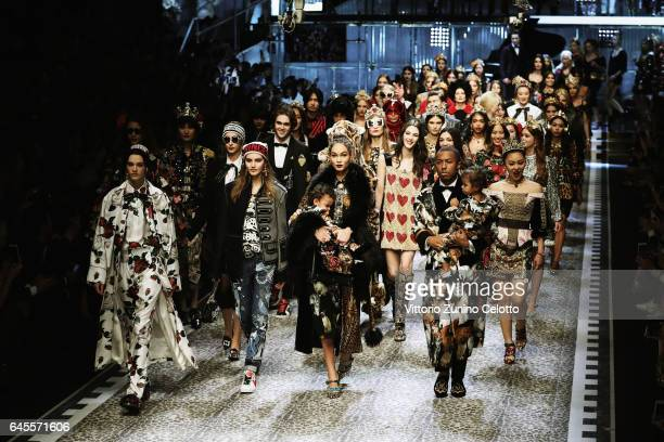 Models walk the runway at the Dolce Gabbana show during Milan Fashion Week Fall/Winter 2017/18 on February 26 2017 in Milan Italy