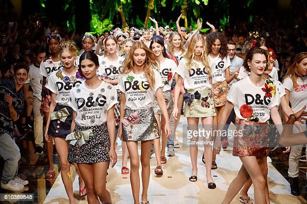 Models walk the runway at the Dolce Gabbana Spring Summer 2017 fashion show during Milan Fashion Week on September 25 2016 in Milan Italy
