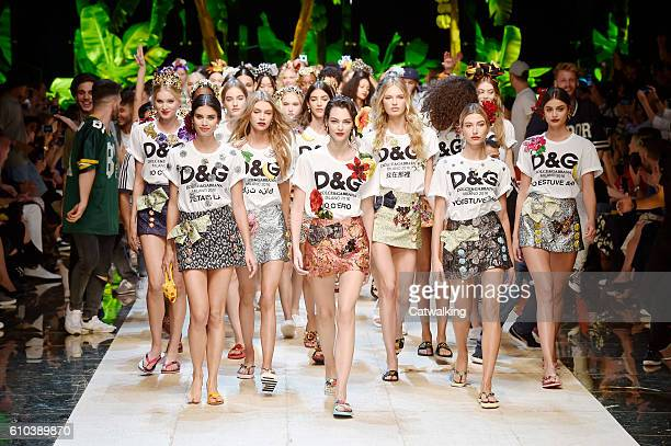 Models walk the runway at the Dolce Gabbana Spring Summer 2017 fashion show during Milan Fashion Week on September 25 2016 in Milan Italy
