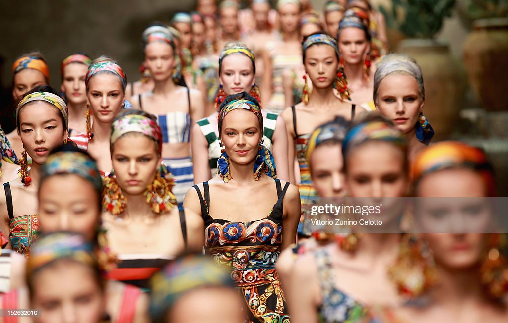 Models walk the runway at the Dolce & Gabbana Spring/Summer 2013 fashion show as part of Milan Womenswear Fashion Week on September 23, 2012 in Milan, Italy.