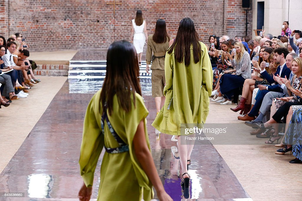 Models walk the runway at the Dorothee Schumacher show during the Mercedes-Benz Fashion Week Berlin Spring/Summer 2017 at Elisabethkirche on June 29, 2016 in Berlin, Germany.
