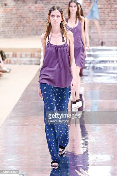Models walk the runway at the Dorothee Schumacher show during the MercedesBenz Fashion Week Berlin Spring/Summer 2017 at Elisabethkirche on June 29...