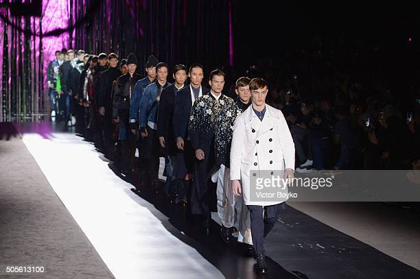 Models walk the runway at the Dsquared2 show during Milan Men's Fashion Week Fall/Winter 2016/17 on January 19 2016 in Milan Italy