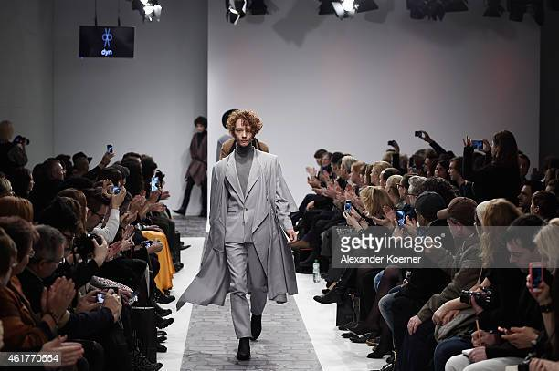 Models walk the runway at the DYN show during the MercedesBenz Fashion Week Berlin Autumn/Winter 2015/16 at Brandenburg Gate on January 19 2015 in...