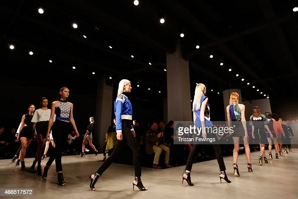 Models walk the runway at the Ece Gozen show during Mercedes Benz Fashion Week Istanbul FW15 on March 16 2015 in Istanbul Turkey