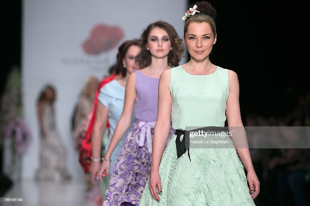 Models walk the runway at the Elena Souproun show during Mercedes-Benz Fashion Week Russia Fall/Winter 2013/2014 at Manege on April 1, 2013 in Moscow, Russia.
