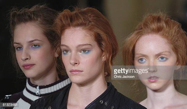 Models walk the runway at the Elspeth Gibson fashion show as part of London Fashion Week Spring/Summer 2005 at Kent House on September 19 2004 in...
